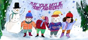 Brightly holiday card