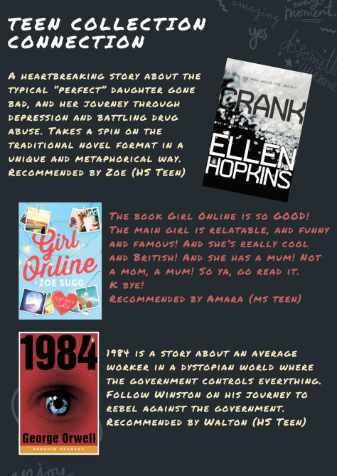 Here are the December picks from the Teen Collection Connection (TCC)!  Check out the reviews, and find the whole set of books in the catalog…