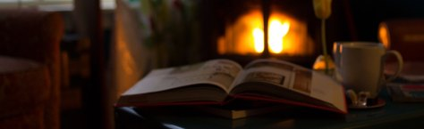Fireplace and books