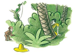illustration of Curious George and the man in the yellow hat