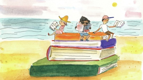kids reading at the beach
