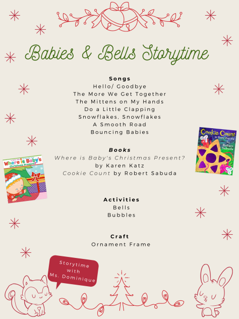 Check out the full Babies & Bells Storytime Schedule